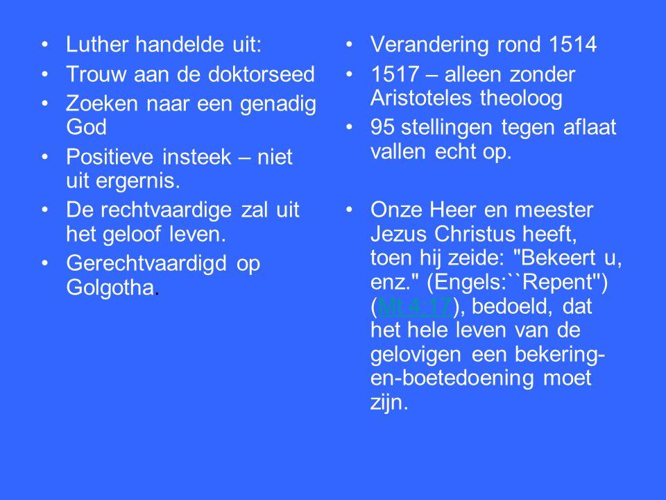 In 1512 promotie. Voor Luther was dit vooral: trouw aan de Bijbel zijn en blijven.