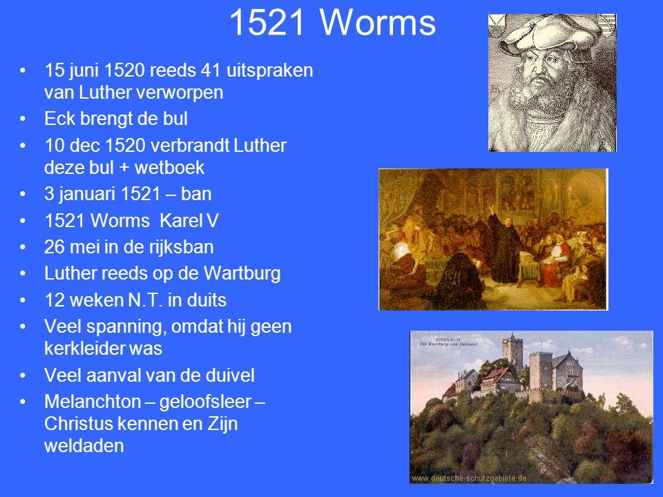Leipzig juli 1519 Luther stelt gezag van de Paus ter discussie Via Eck moet hij ook het concilie haar gezag ontnemen – concilie van Konstanz veroordeelde Hus.