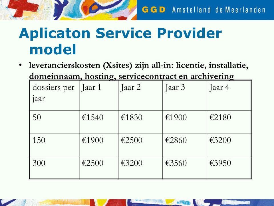 Aplicaton Service Provider model leverancierskosten (Xsites) zijn all-in: licentie, installatie, domeinnaam, hosting, servicecontract en archivering dossiers per jaar Jaar 1Jaar 2Jaar 3Jaar 4 50€1540€1830€1900€2180 150€1900€2500€2860€3200 300€2500€3200€3560€3950