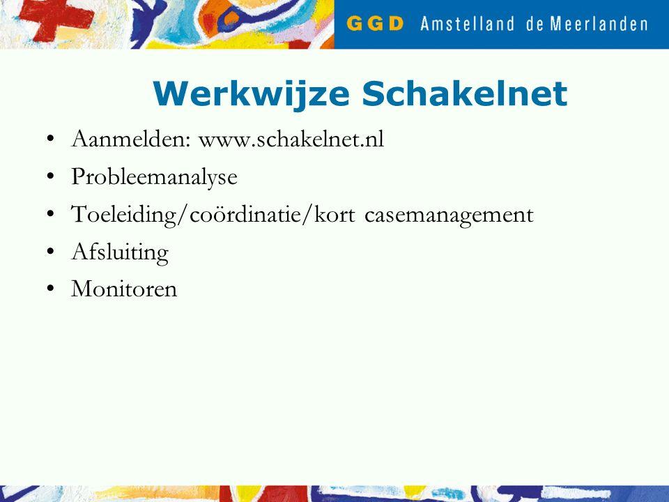 Werkwijze Schakelnet Aanmelden: www.schakelnet.nl Probleemanalyse Toeleiding/coördinatie/kort casemanagement Afsluiting Monitoren