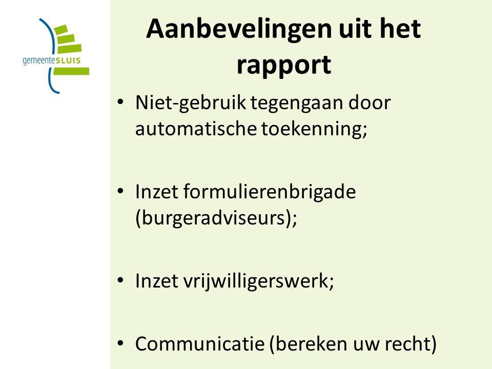 Aanbevelingen uit het rapport Niet-gebruik tegengaan door automatische toekenning; Inzet formulierenbrigade (burgeradviseurs); Inzet vrijwilligerswerk; Communicatie (bereken uw recht)