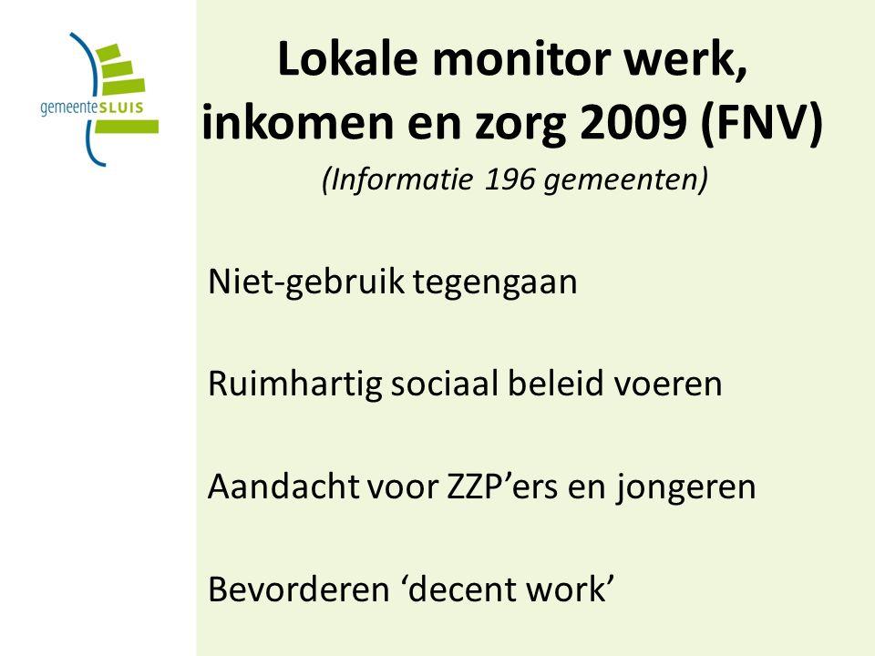 Lokale monitor werk, inkomen en zorg 2009 (FNV) (Informatie 196 gemeenten) Niet-gebruik tegengaan Ruimhartig sociaal beleid voeren Aandacht voor ZZP'ers en jongeren Bevorderen 'decent work'