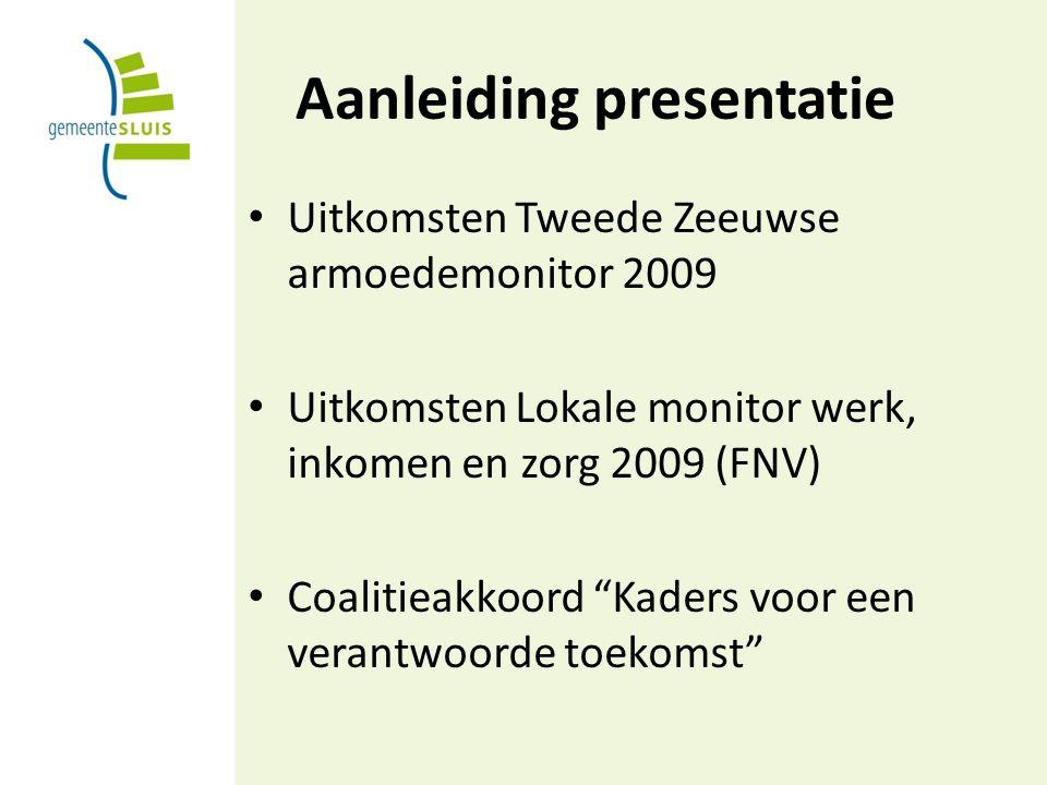Aanleiding presentatie Uitkomsten Tweede Zeeuwse armoedemonitor 2009 Uitkomsten Lokale monitor werk, inkomen en zorg 2009 (FNV) Coalitieakkoord Kaders voor een verantwoorde toekomst