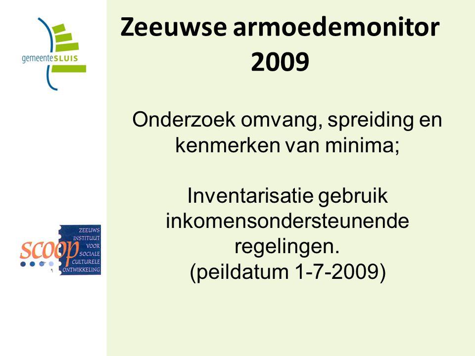 Zeeuwse armoedemonitor 2009 Onderzoek omvang, spreiding en kenmerken van minima; Inventarisatie gebruik inkomensondersteunende regelingen.
