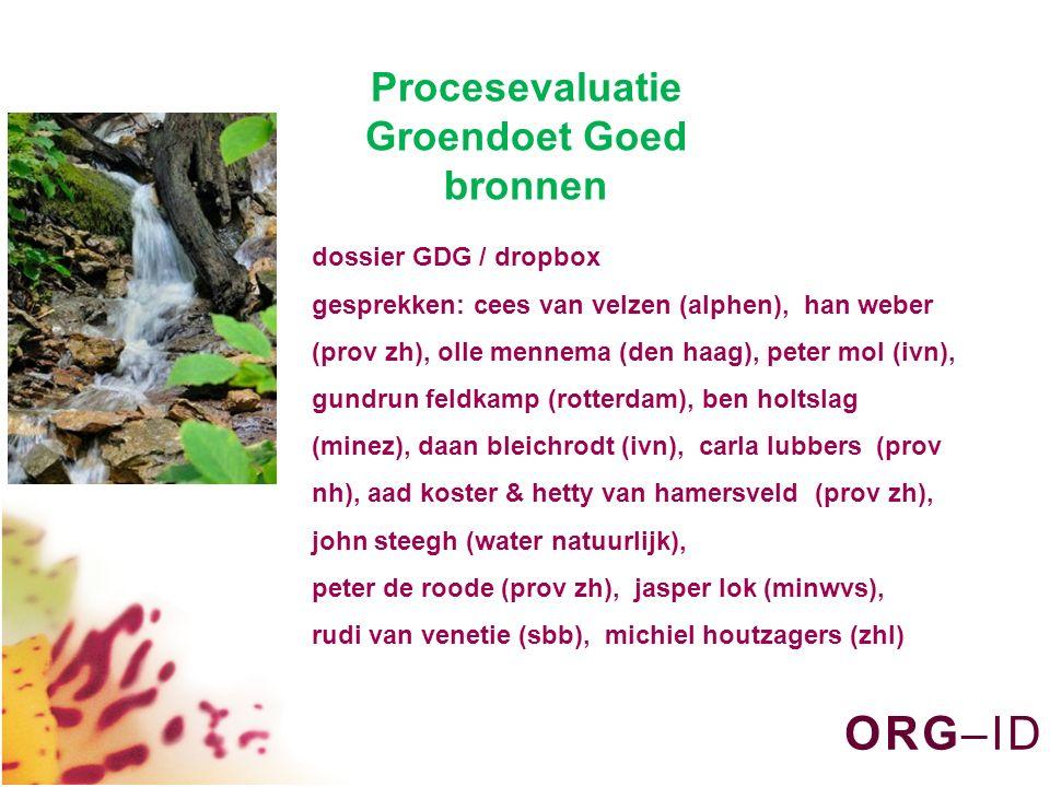 O R G – I DO R G – I D dossier GDG / dropbox gesprekken: cees van velzen (alphen), han weber (prov zh), olle mennema (den haag), peter mol (ivn), gund