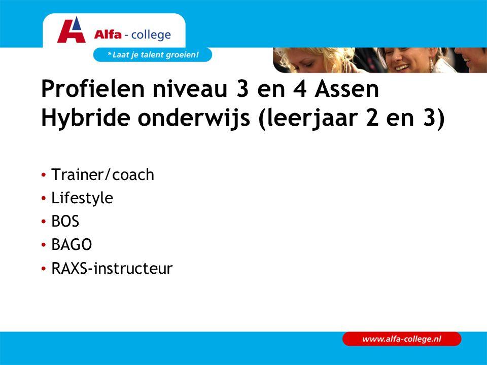 Profielen niveau 3 en 4 Assen Hybride onderwijs (leerjaar 2 en 3) Trainer/coach Lifestyle BOS BAGO RAXS-instructeur