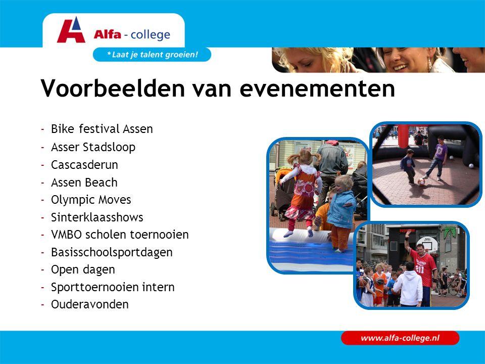 Voorbeelden van evenementen -Bike festival Assen -Asser Stadsloop -Cascasderun -Assen Beach -Olympic Moves -Sinterklaasshows -VMBO scholen toernooien