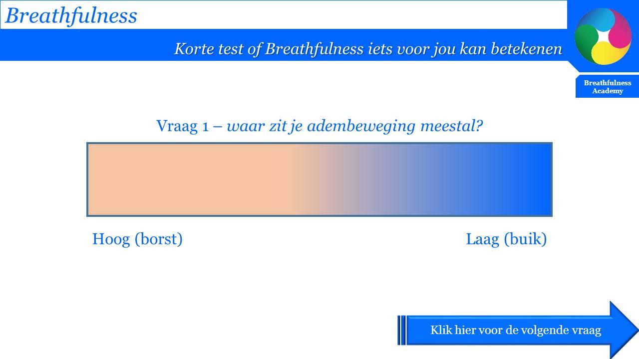 Breathfulness Korte test of Breathfulness iets voor jou kan betekenen Breathfulness Academy Vraag 1 – waar zit je adembeweging meestal? Hoog (borst)La