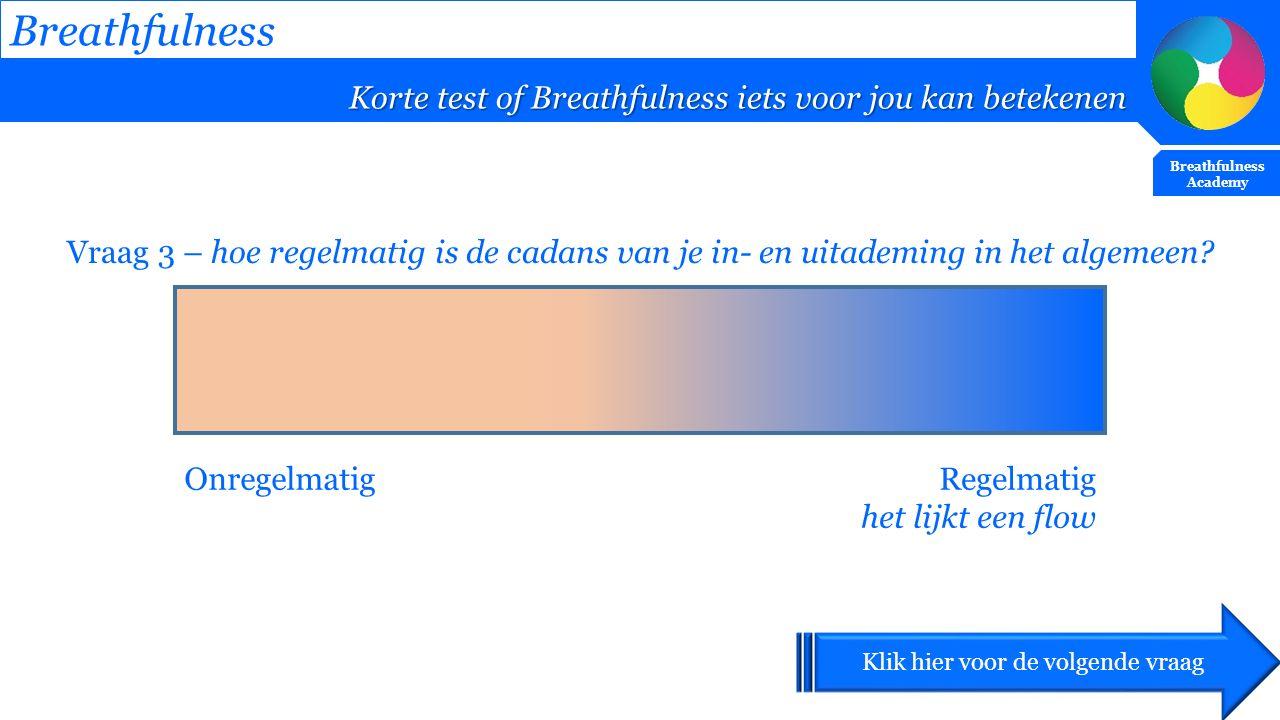 Breathfulness Korte test of Breathfulness iets voor jou kan betekenen Breathfulness Academy Vraag 3 – hoe regelmatig is de cadans van je in- en uitade