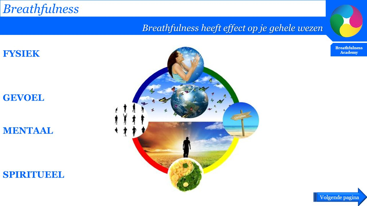 FYSIEK GEVOEL MENTAAL SPIRITUEEL Breathfulness Breathfulness heeft effect op je gehele wezen Breathfulness Academy Volgende pagina