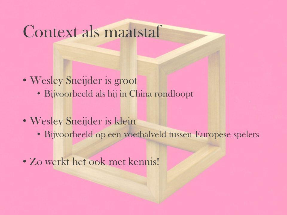 Context als maatstaf Wesley Sneijder is groot Bijvoorbeeld als hij in China rondloopt Wesley Sneijder is klein Bijvoorbeeld op een voetbalveld tussen