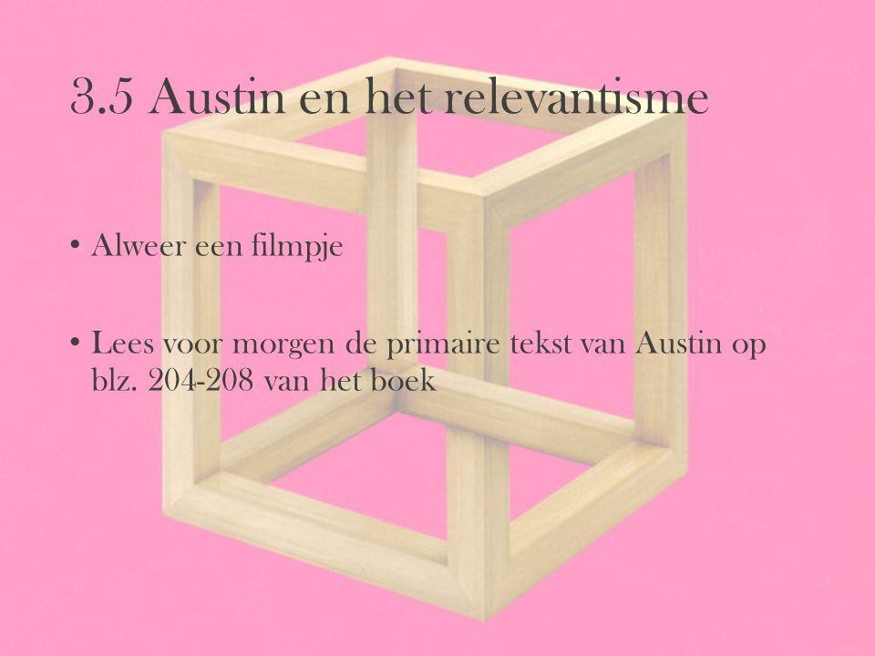 3.5 Austin en het relevantisme Alweer een filmpje Lees voor morgen de primaire tekst van Austin op blz. 204-208 van het boek