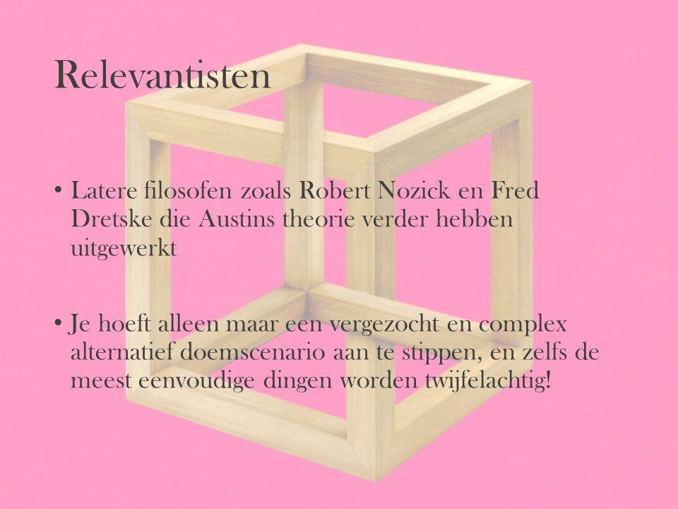 Relevantisten Latere filosofen zoals Robert Nozick en Fred Dretske die Austins theorie verder hebben uitgewerkt Je hoeft alleen maar een vergezocht en