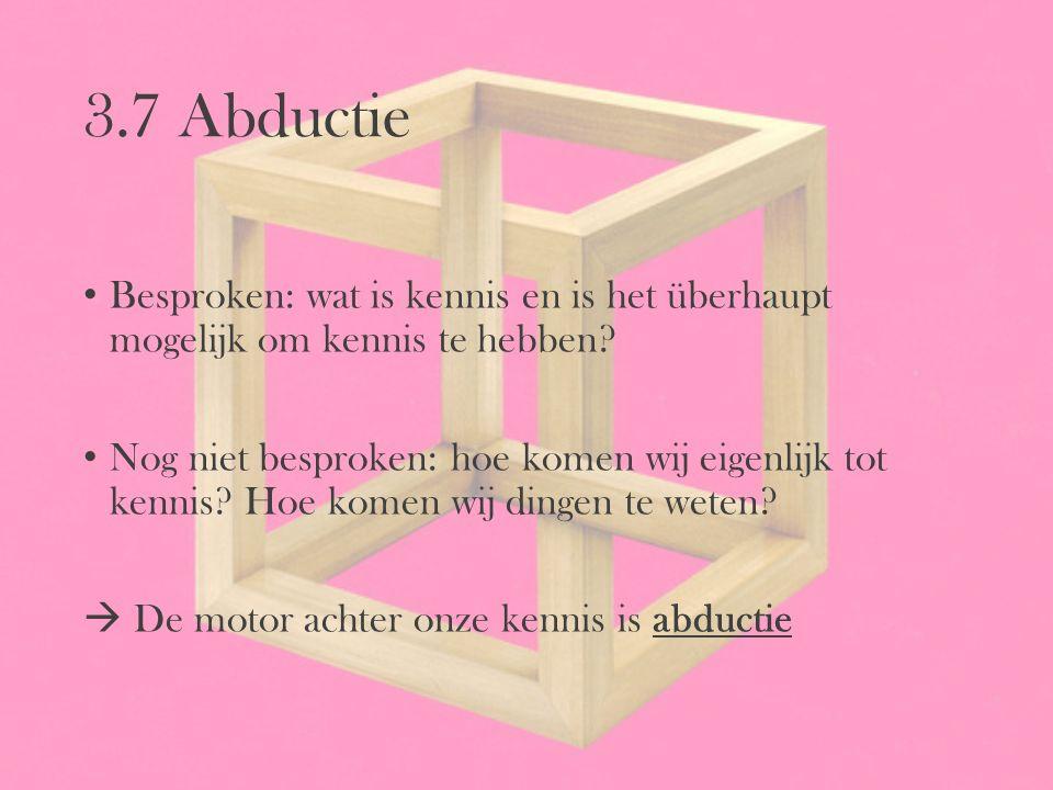 3.7 Abductie Besproken: wat is kennis en is het überhaupt mogelijk om kennis te hebben? Nog niet besproken: hoe komen wij eigenlijk tot kennis? Hoe ko