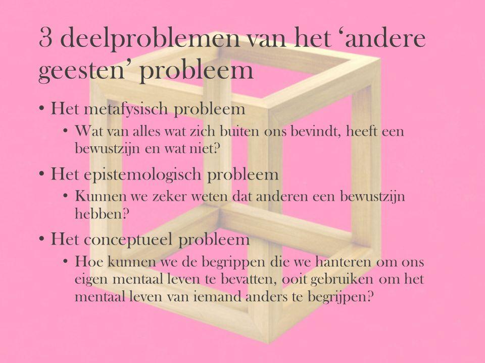 3 deelproblemen van het 'andere geesten' probleem Het metafysisch probleem Wat van alles wat zich buiten ons bevindt, heeft een bewustzijn en wat niet