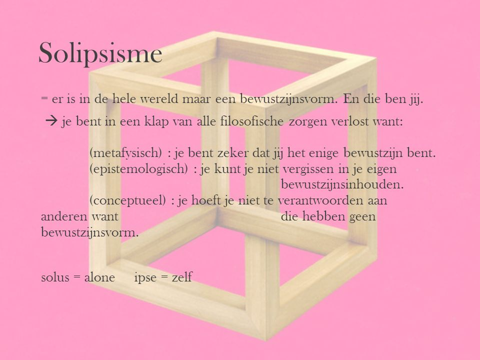 Solipsisme = er is in de hele wereld maar een bewustzijnsvorm. En die ben jij.  je bent in een klap van alle filosofische zorgen verlost want: (metaf