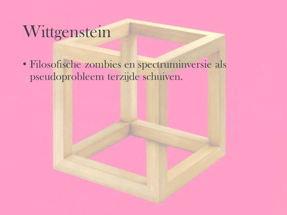 Wittgenstein Filosofische zombies en spectruminversie als pseudoprobleem terzijde schuiven.
