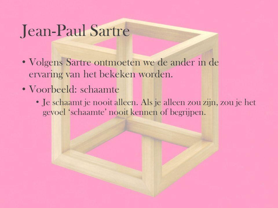 Jean-Paul Sartre Volgens Sartre ontmoeten we de ander in de ervaring van het bekeken worden. Voorbeeld: schaamte Je schaamt je nooit alleen. Als je al