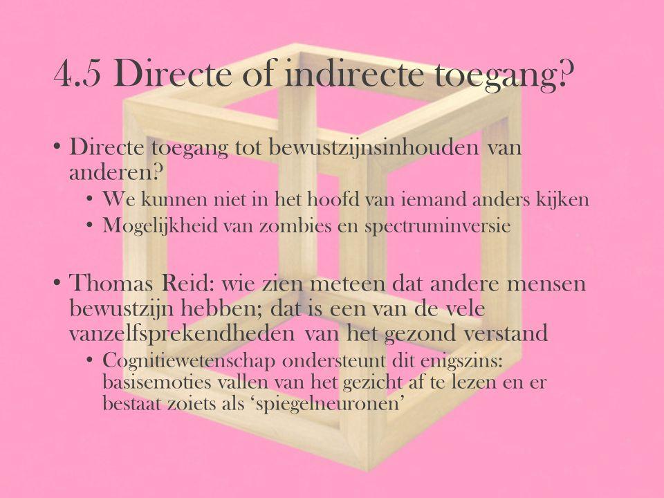 4.5 Directe of indirecte toegang? Directe toegang tot bewustzijnsinhouden van anderen? We kunnen niet in het hoofd van iemand anders kijken Mogelijkhe