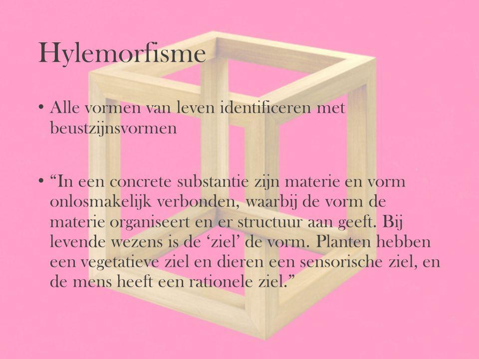 """Hylemorfisme Alle vormen van leven identificeren met beustzijnsvormen """"In een concrete substantie zijn materie en vorm onlosmakelijk verbonden, waarbi"""