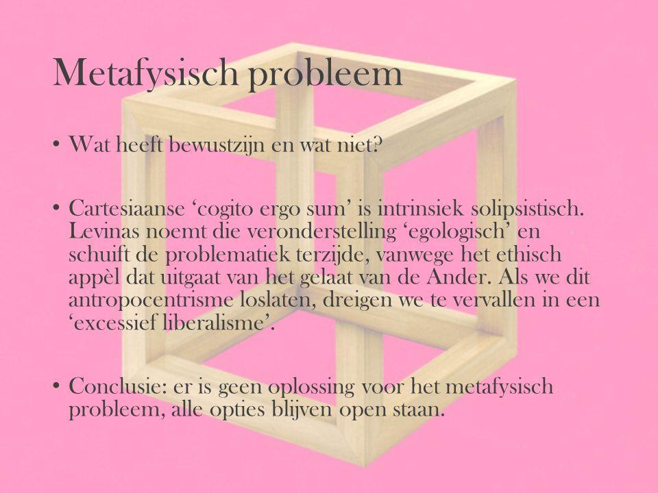 Metafysisch probleem Wat heeft bewustzijn en wat niet? Cartesiaanse 'cogito ergo sum' is intrinsiek solipsistisch. Levinas noemt die veronderstelling