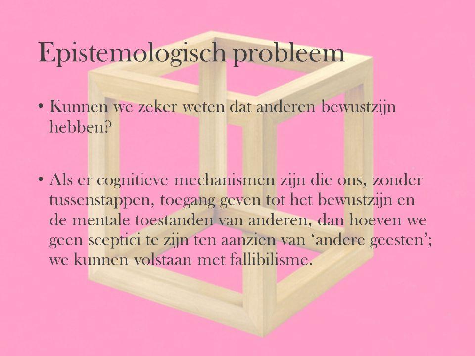 Epistemologisch probleem Kunnen we zeker weten dat anderen bewustzijn hebben? Als er cognitieve mechanismen zijn die ons, zonder tussenstappen, toegan