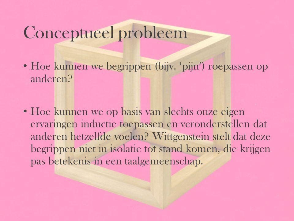 Conceptueel probleem Hoe kunnen we begrippen (bijv. 'pijn') roepassen op anderen? Hoe kunnen we op basis van slechts onze eigen ervaringen inductie to
