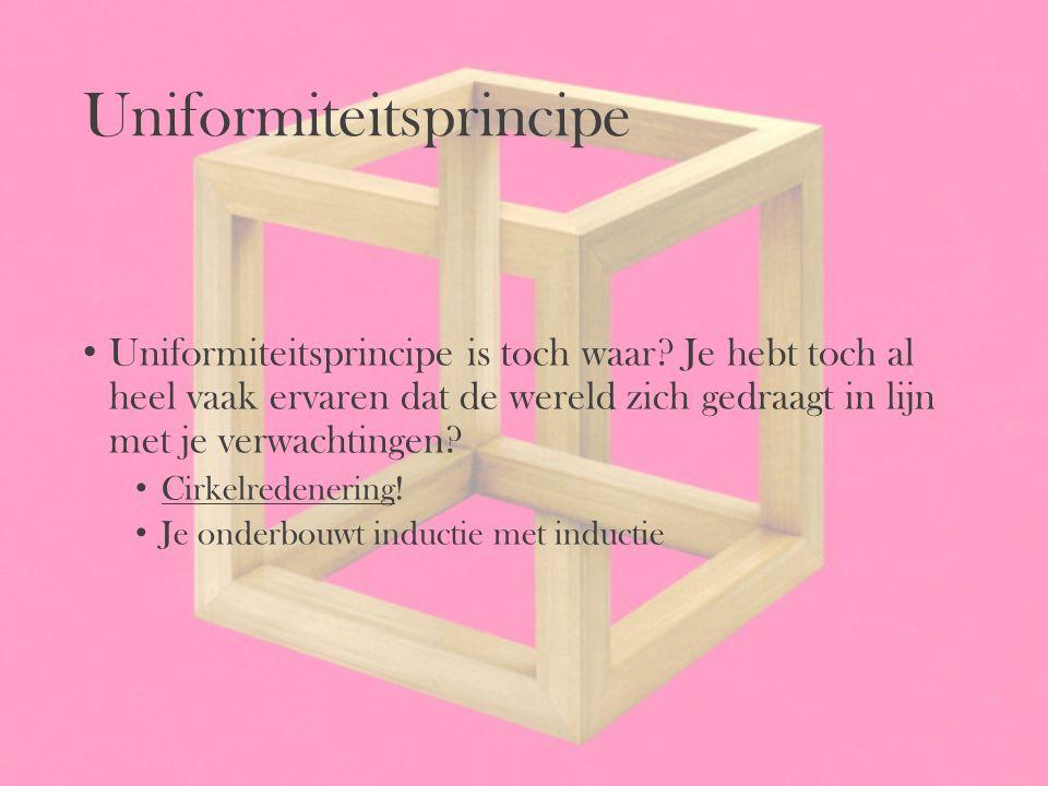 Uniformiteitsprincipe Uniformiteitsprincipe is toch waar? Je hebt toch al heel vaak ervaren dat de wereld zich gedraagt in lijn met je verwachtingen?