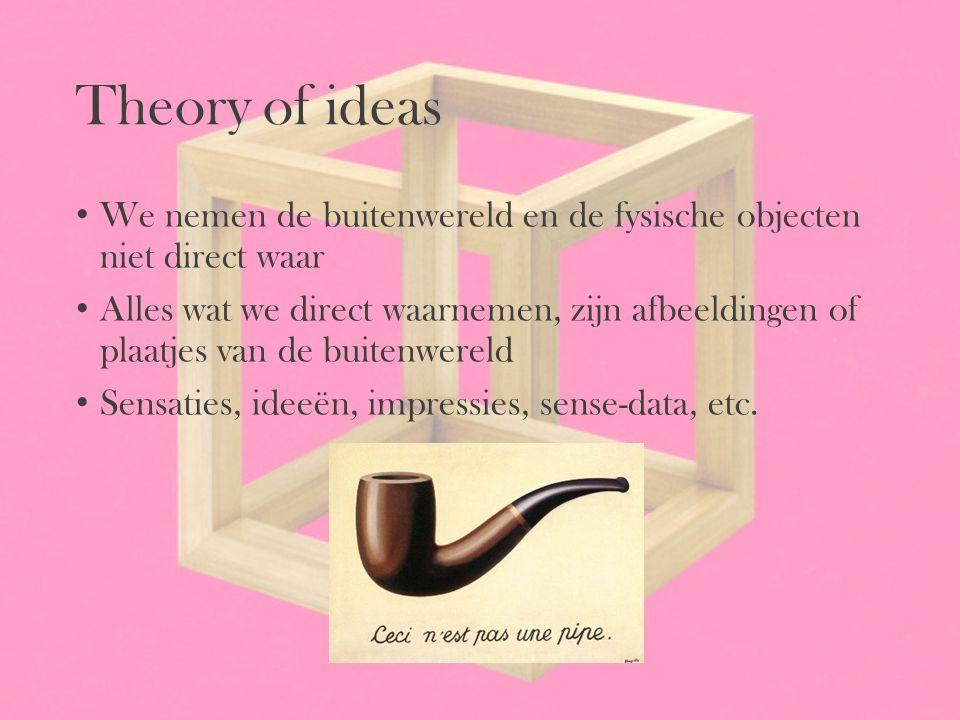 Theory of ideas We nemen de buitenwereld en de fysische objecten niet direct waar Alles wat we direct waarnemen, zijn afbeeldingen of plaatjes van de