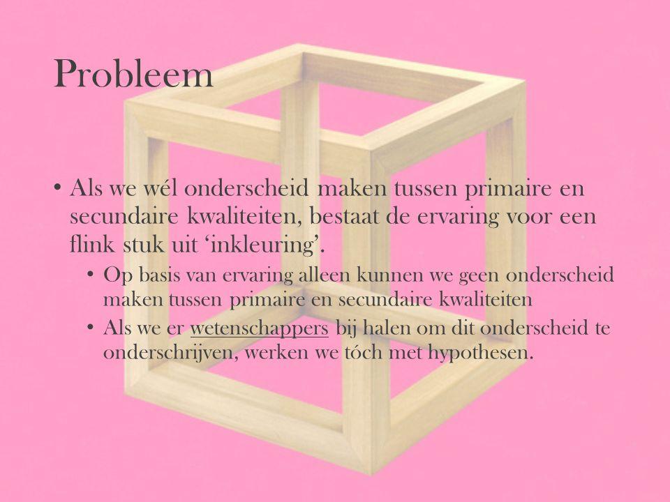 Probleem Als we wél onderscheid maken tussen primaire en secundaire kwaliteiten, bestaat de ervaring voor een flink stuk uit 'inkleuring'. Op basis va