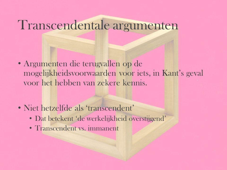 Transcendentale argumenten Argumenten die terugvallen op de mogelijkheidsvoorwaarden voor iets, in Kant's geval voor het hebben van zekere kennis. Nie