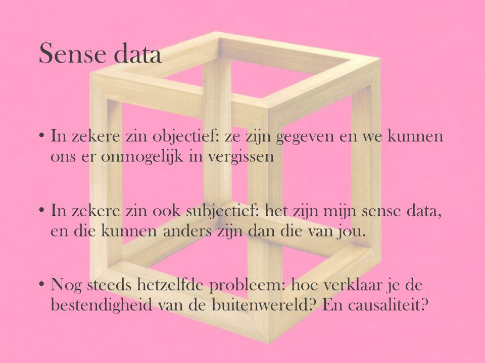 Sense data In zekere zin objectief: ze zijn gegeven en we kunnen ons er onmogelijk in vergissen In zekere zin ook subjectief: het zijn mijn sense data