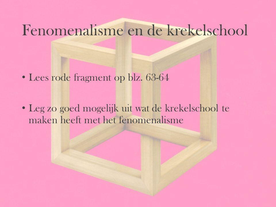 Fenomenalisme en de krekelschool Lees rode fragment op blz. 63-64 Leg zo goed mogelijk uit wat de krekelschool te maken heeft met het fenomenalisme