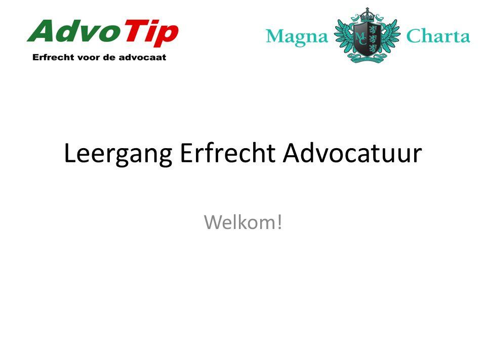 Leergang Erfrecht Advocatuur Na het volgen van de leergang beheerst de cursist de theoretische aspecten van het erfrecht en de aanpalende rechtsgebieden.