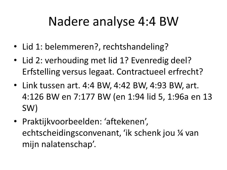 Nadere analyse 4:4 BW Lid 1: belemmeren?, rechtshandeling? Lid 2: verhouding met lid 1? Evenredig deel? Erfstelling versus legaat. Contractueel erfrec