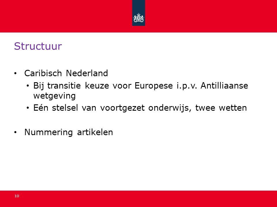 10 Structuur Caribisch Nederland Bij transitie keuze voor Europese i.p.v.