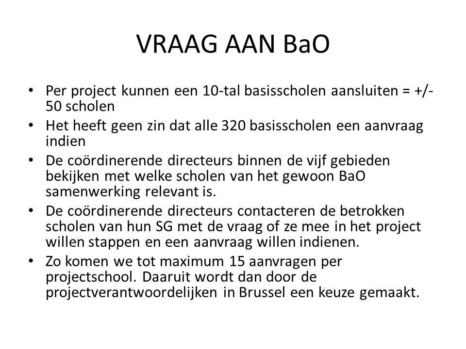 VRAAG AAN BaO Per project kunnen een 10-tal basisscholen aansluiten = +/- 50 scholen Het heeft geen zin dat alle 320 basisscholen een aanvraag indien De coördinerende directeurs binnen de vijf gebieden bekijken met welke scholen van het gewoon BaO samenwerking relevant is.