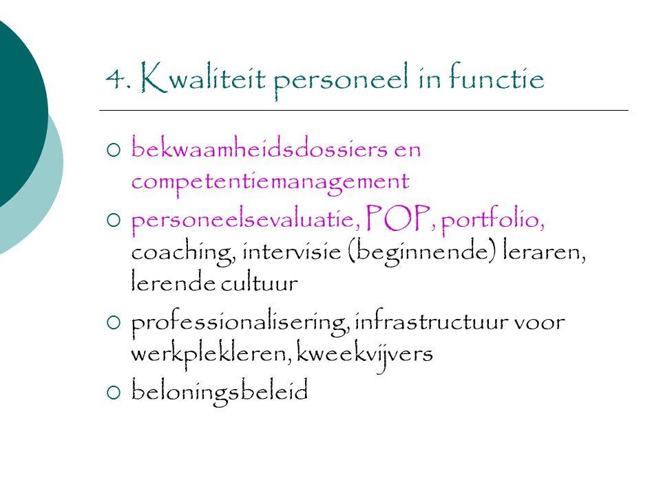 4. Kwaliteit personeel in functie  bekwaamheidsdossiers en competentiemanagement  personeelsevaluatie, POP, portfolio, coaching, intervisie (beginne