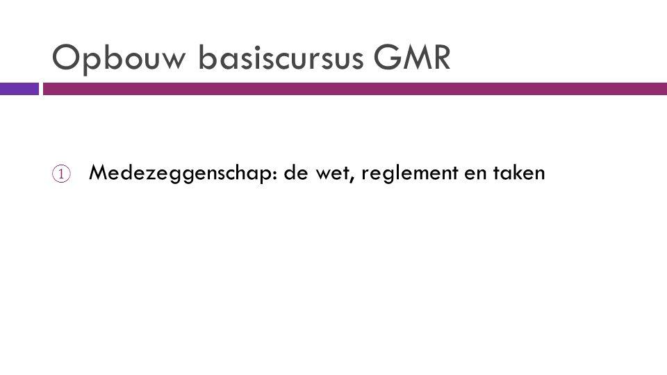 Opbouw basiscursus GMR ① Medezeggenschap: de wet, reglement en taken