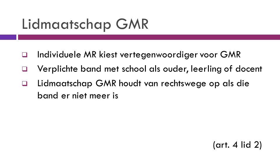 Lidmaatschap GMR  Individuele MR kiest vertegenwoordiger voor GMR  Verplichte band met school als ouder, leerling of docent  Lidmaatschap GMR houdt van rechtswege op als die band er niet meer is (art.