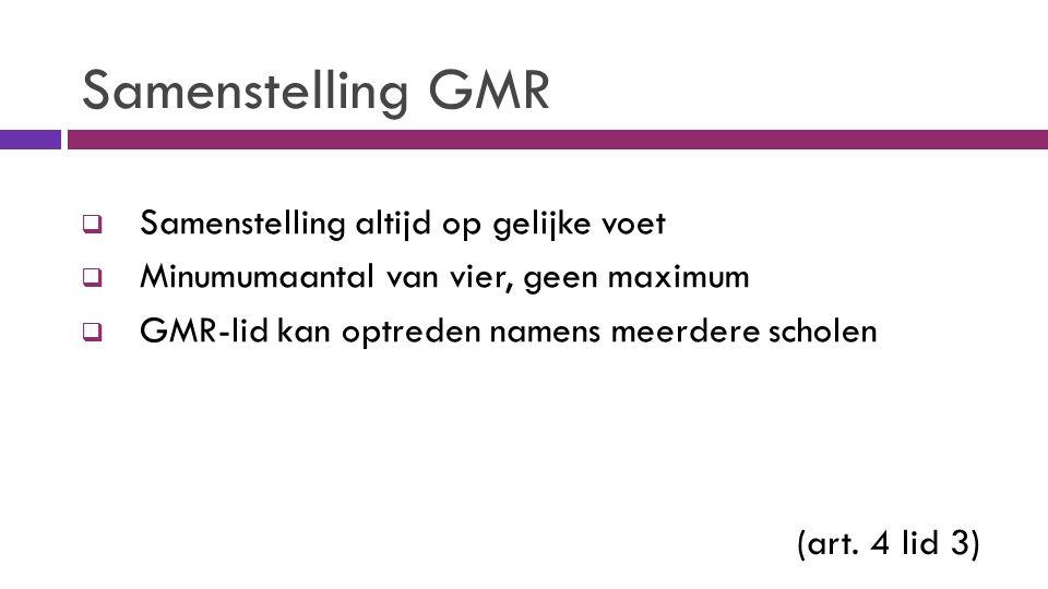 Samenstelling GMR  Samenstelling altijd op gelijke voet  Minumumaantal van vier, geen maximum  GMR-lid kan optreden namens meerdere scholen (art.