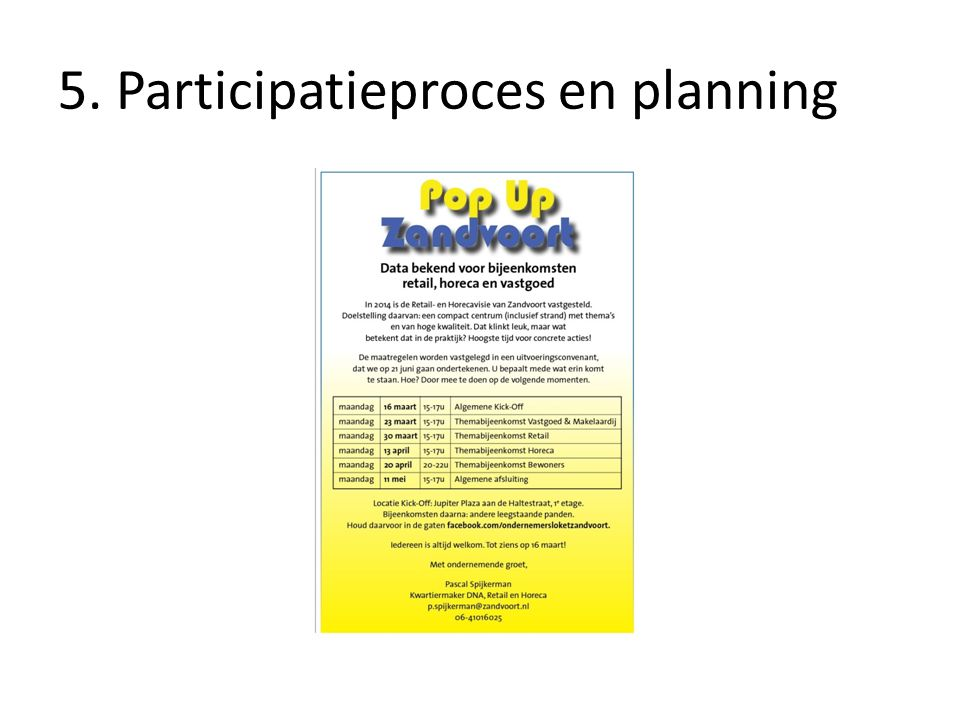 5. Participatieproces en planning
