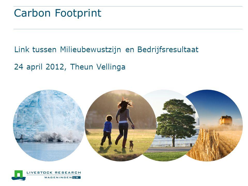 Carbon Footprint Link tussen Milieubewustzijn en Bedrijfsresultaat 24 april 2012, Theun Vellinga