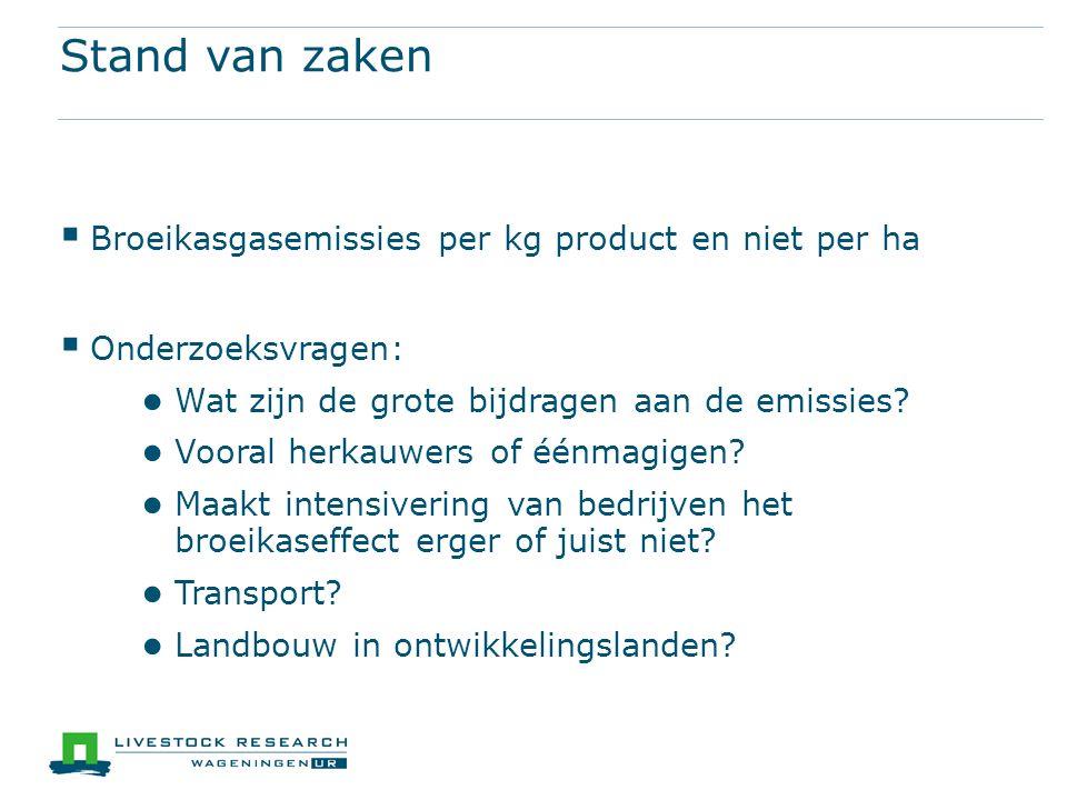 Stand van zaken  Broeikasgasemissies per kg product en niet per ha  Onderzoeksvragen: ● Wat zijn de grote bijdragen aan de emissies.