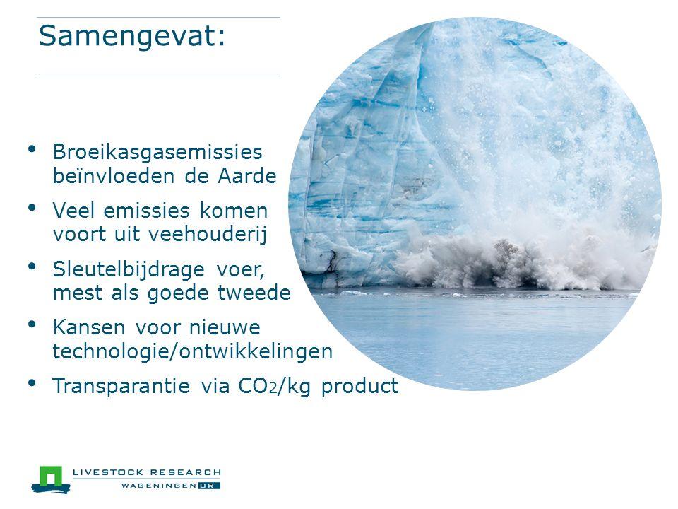 Samengevat: Broeikasgasemissies beïnvloeden de Aarde Veel emissies komen voort uit veehouderij Sleutelbijdrage voer, mest als goede tweede Kansen voor nieuwe technologie/ontwikkelingen Transparantie via CO 2 /kg product