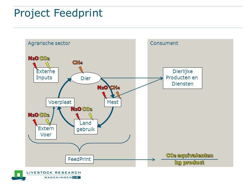 Agrarische sectorConsument Externe Inputs Voerplaat Land gebruik Mest Dier Project Feedprint Extern Voer Dierlijke Producten en Diensten FeedPrint
