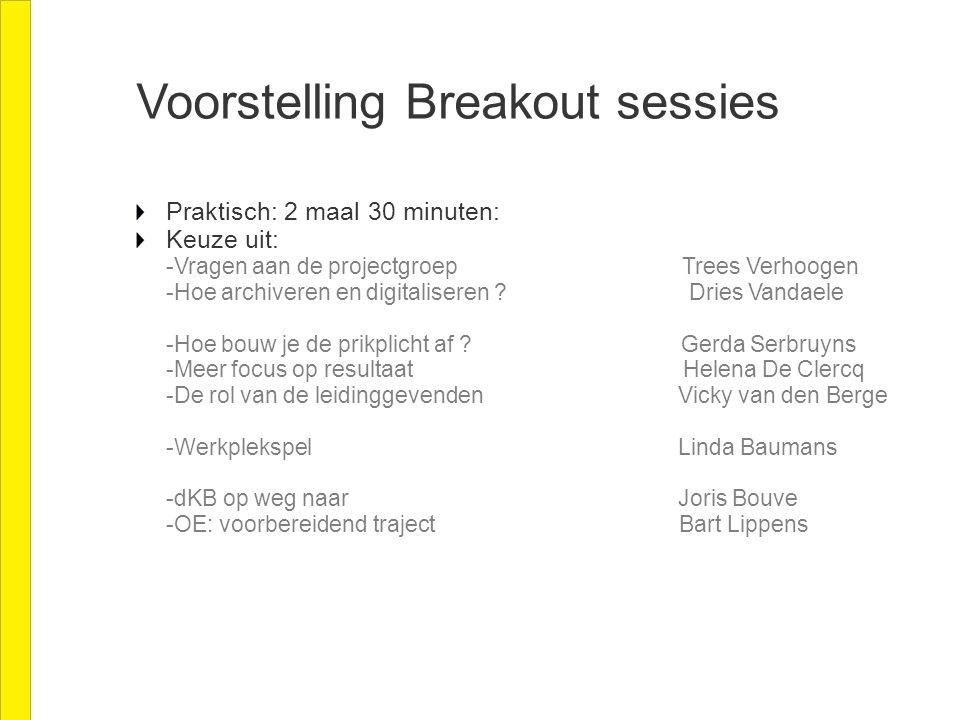 Voorstelling Breakout sessies Praktisch: 2 maal 30 minuten: Keuze uit: -Vragen aan de projectgroep Trees Verhoogen -Hoe archiveren en digitaliseren .