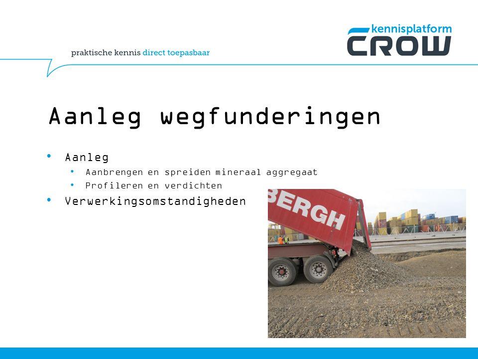 Aanleg wegfunderingen Aanleg Aanbrengen en spreiden mineraal aggregaat Profileren en verdichten Verwerkingsomstandigheden