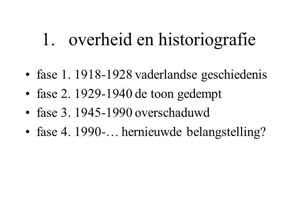 1.overheid en historiografie fase 1. 1918-1928 vaderlandse geschiedenis fase 2.