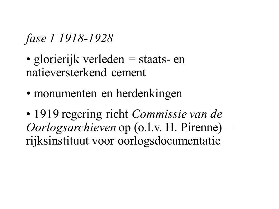 fase 2 1929-1940 economische en nationale (communautaire tegenstelling) en internationale (relatie met Duitsland) politieke context leiden tot verzwakking geschiedpolitiek 1928 opheffing Commissie van de Oorlogsarchieven